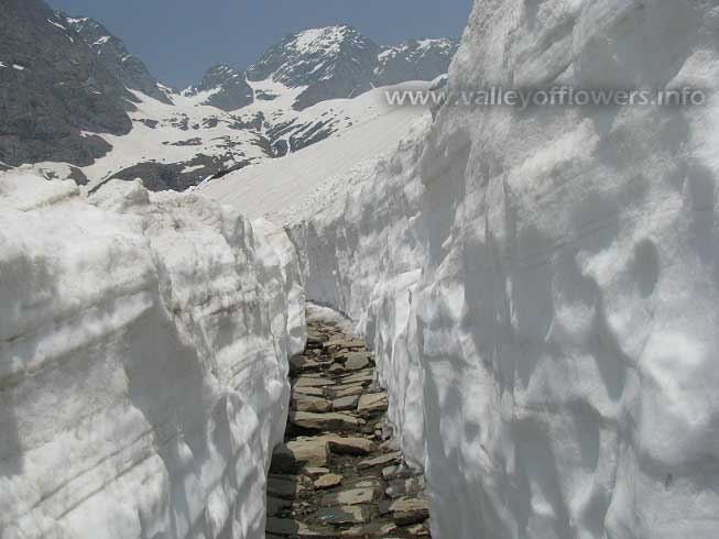 way to hemkund sahib 12 feet Snow, Hemkund Sahib and Valley of Flowers