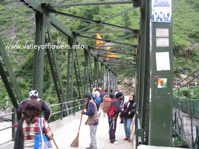 Iron Bridge at Govindghat which was washed out by floods in Alaknanda.