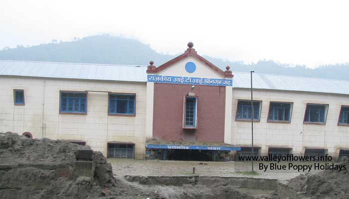 Government Industrial Training Institute building at Srinagar. First floor is almost full of mud.