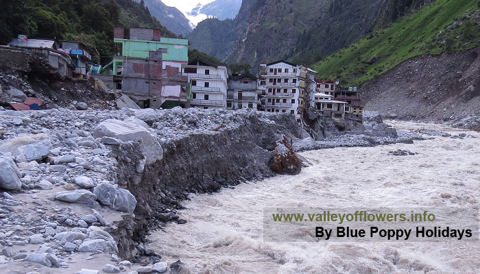 Govindghat after the flood. Vehicle parking and some of the hotels are washed away.