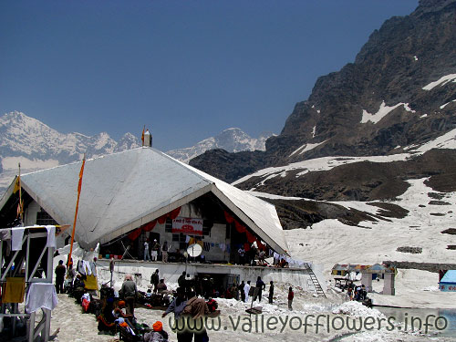 Hemkund Sahib in June , The lake is frozen and you will be trekking through snow for 3 kilometers.