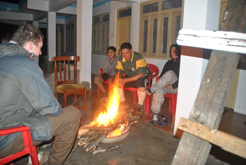 Hotel Krishna Palace at Ghangaria , Bon fire.